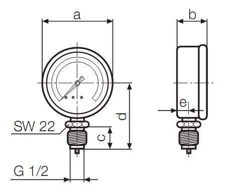 Dimensiuni manometre gaz